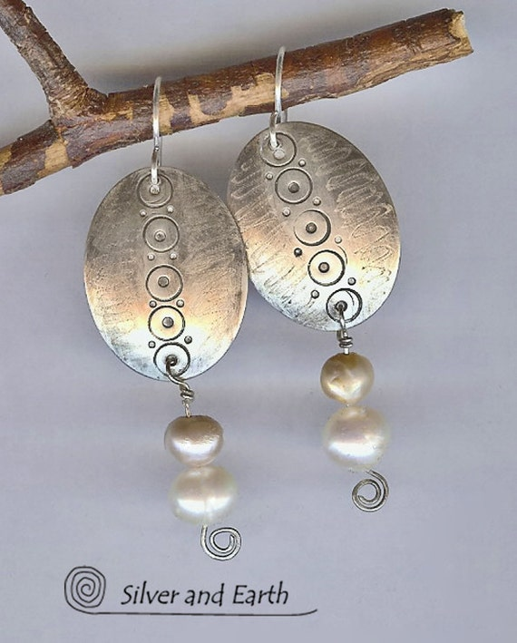 Sterling Silver Dangle Earrings with Pearls, Artisan Sterling Metalwork Jewelry, Silver and Pearls, Gifts for Her
