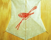 Red Sparrow, handmade woodblock printed kite, made to order