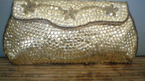 Vintage Gold Sequin and Beaded Clutch