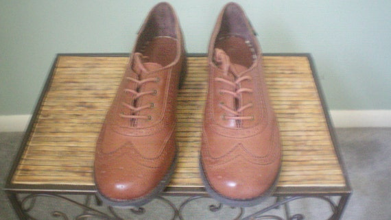 Vintage 1980s Oxford Shoes / Brown Leather Womens Bass, Size 8 1/2 M