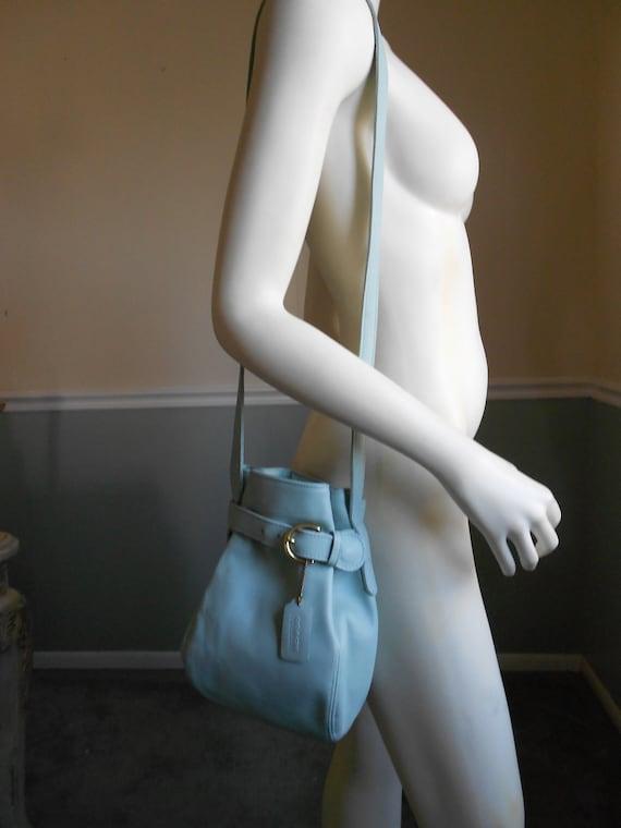 Vintage 1990s Coach Bag / Green Leather Bucket Bag