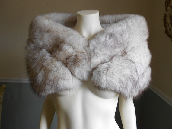 Fox fur stole vintage silver fox reserved for esz - Stoel fur ...