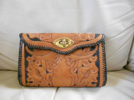 Vintage 1970s Hand Tooled Purse / Clutch Hand Tooled Bag