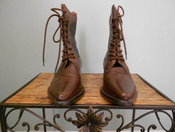 Vintage 1980s Brown Leather Lace Up  Boots, Size 8 M
