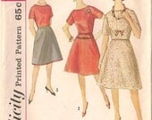 Unused, factory folds-Mid 1960s boat-neck skirt and top, Simplicity 4563