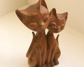 50% off vintage wooden cats carved in wood - SALE