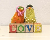 vintage wooden letter blocks - love