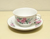 vintage teacup and saucer - white with pink roses