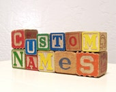 RESERVED FOR BRITNI - vintage wooden letter blocks - custom names