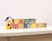 RESERVED for mfavat - happy birthday - vintage wooden letter blocks
