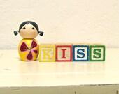 kiss - vintage wooden letter blocks