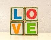 love - vintage wooden letter blocks, Sesame Street