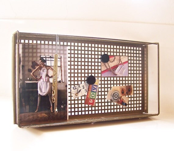50% OFF vintage metal tray or memo board - brass tone - SALE