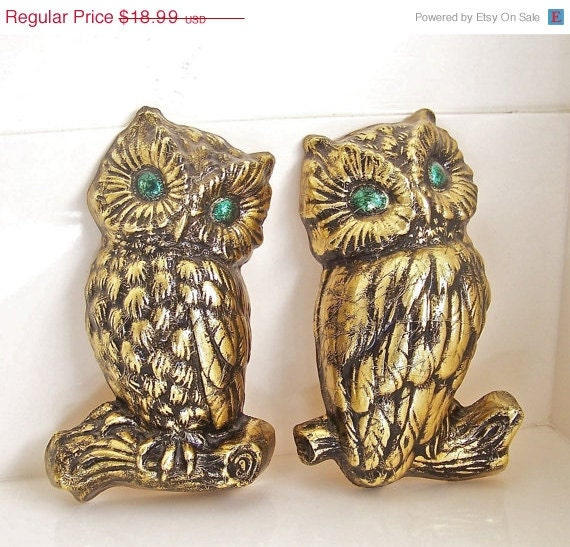 50% OFF vintage gold owls wall hanging - SALE