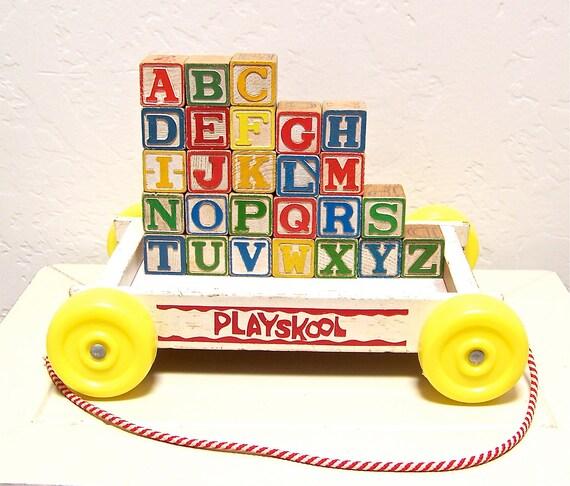 vintage wooden blocks - complete alphabet with playskool cart