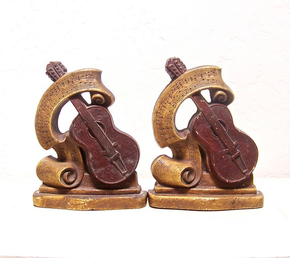 50% off vintage guitar Syroco Wood pair of bookends