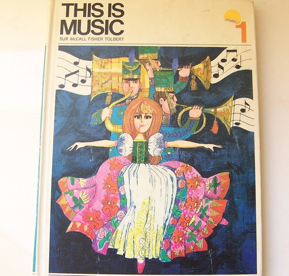 RESERVED  for Elisa - 50% off vintage illustrated music book - This Is Music Book 1