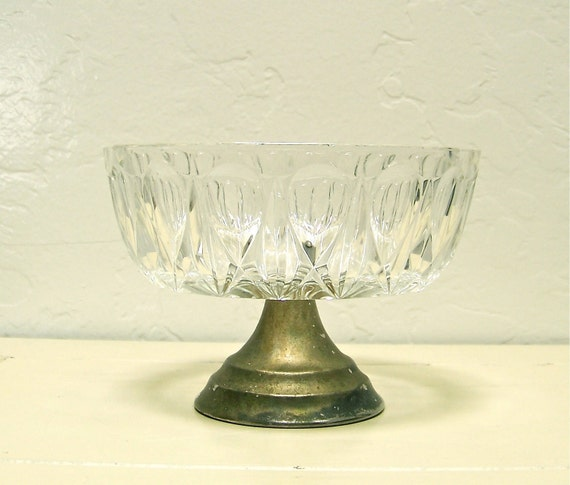 vintage French footed bowl - glass with metal base