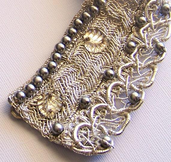 SALE - vintage silver beaded collar