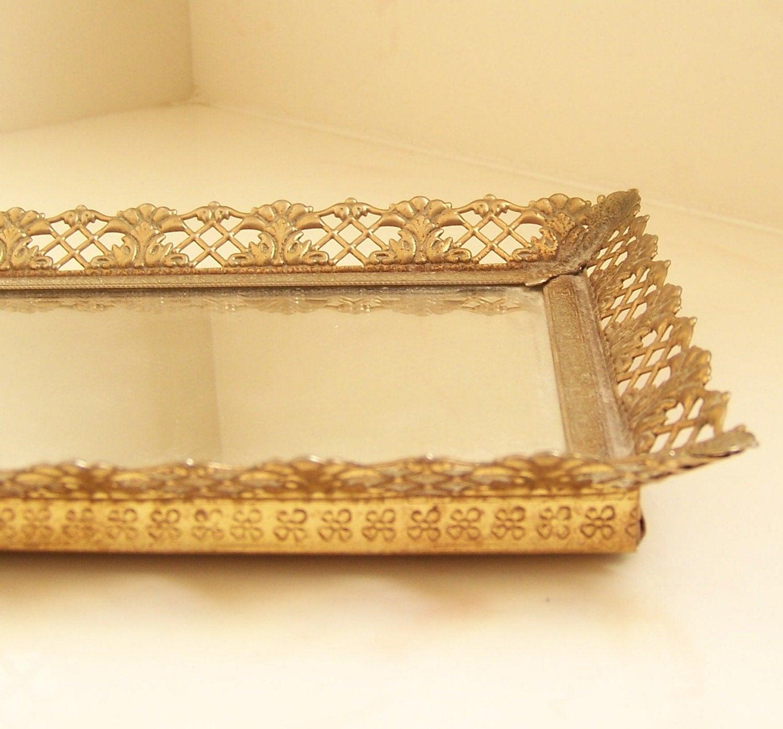 Vintage mirrored vanity tray by vintagebyalexkeller on etsy for Mirrored bathroom tray