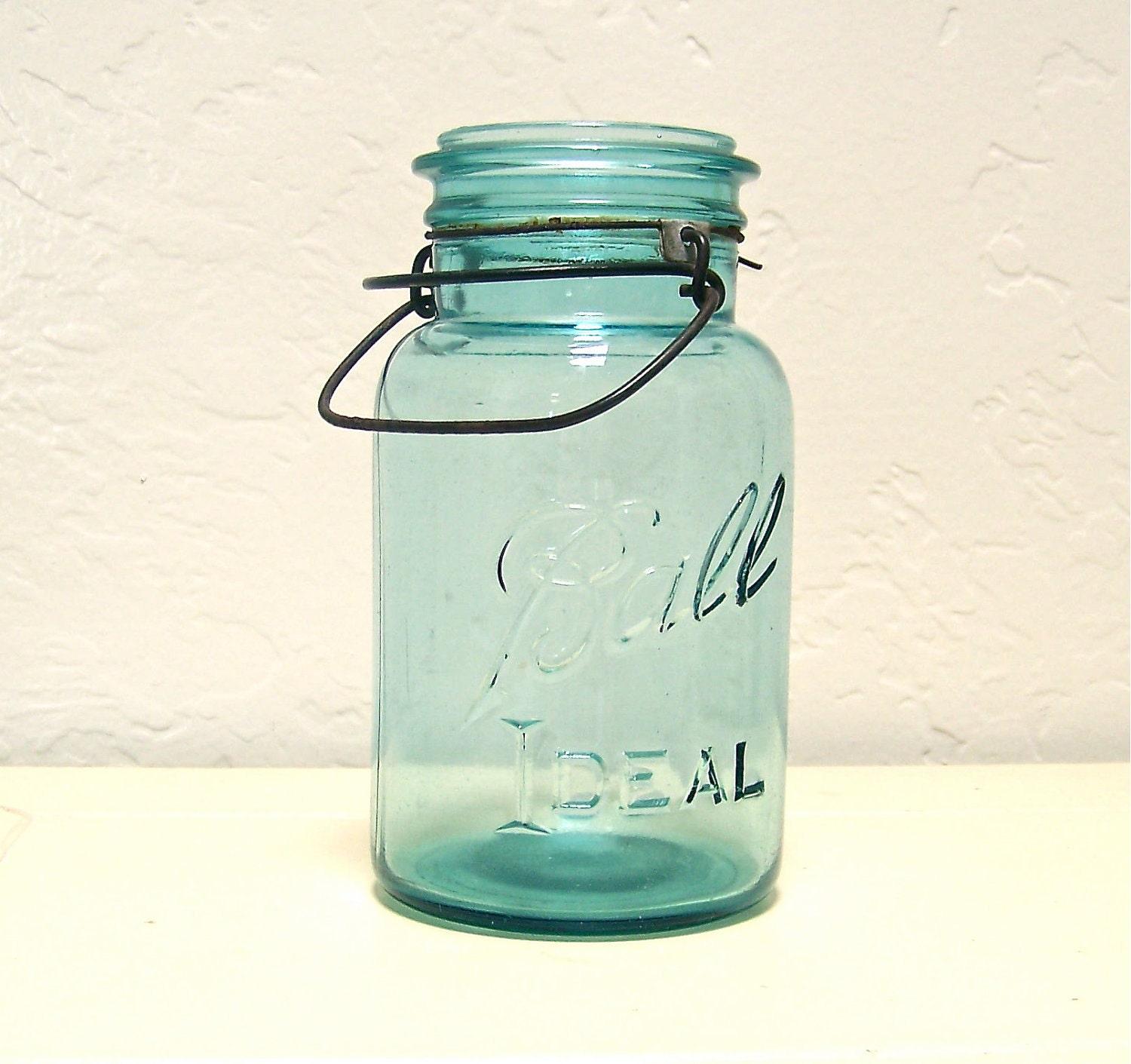 vintage aqua blue Ball Ideal mason jar with by vintagebyalexkeller