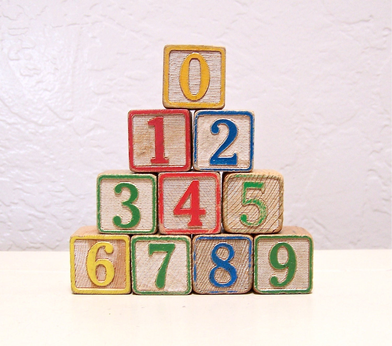 numbers vintage wooden letter blocks