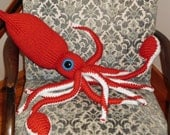 Hand Knit Giant Squid-choose your own colors