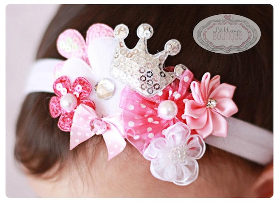 Lil Hiccups Princess Cluster Band - Pink Headband -Crown Headband- Baby Girl Headband - Newborn Headband - Photography Prop- Baby Shower