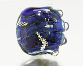 Pearly Blue Reactive Tab glass lampwork focal bead