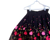 RESERVED FOR mcmgirl123 Vintage Hand-Painted Black with Pink Flowered Skirt