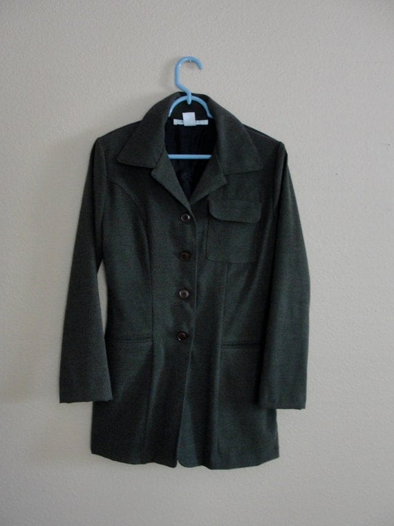 Vintage Olive Green Army Style High Fashion Jacket Size Small