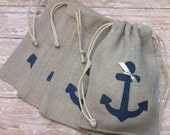 Burlap Wedding Favors or Gift Bags with Navy Blue Anchor