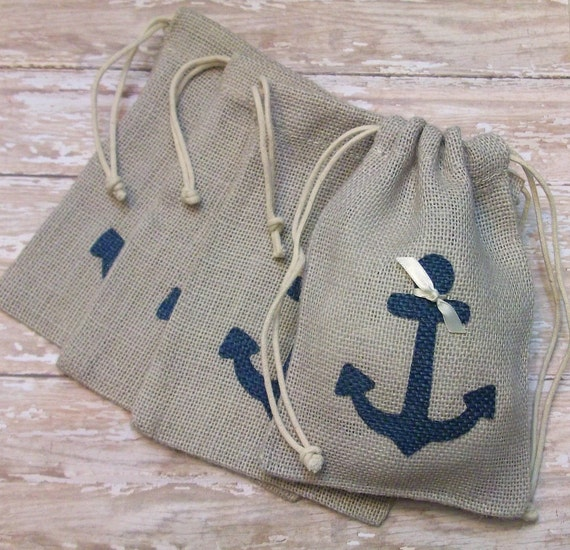 Burlap wedding favors or gift bags with navy blue anchor for Wedding favor gift bags