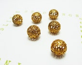 Vintage brass filigree beads, 10mm, 6 count.