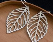 White Gold Leaf Earrings