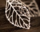 White Gold Leaf Earrings - Small