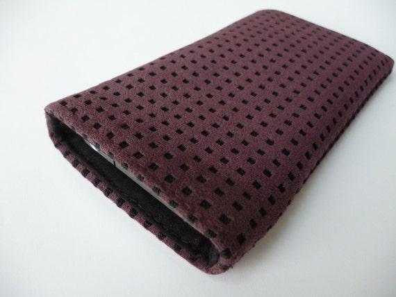 Alcantara Aubergine iPhone cover with black microfibre lining