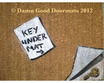 funny reminder note doormat-  Key Under Mat  faux painting outdoor rug entrance