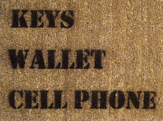 keys wallet cell phone hand painted doormat