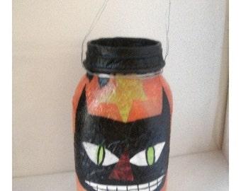 Halloween Mason Jar/Decoupage Cat/ Handmade/ Holiday Decor*