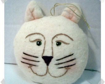 Cotton Batting Cat Ornament/Handmade/*Made to ORDER**