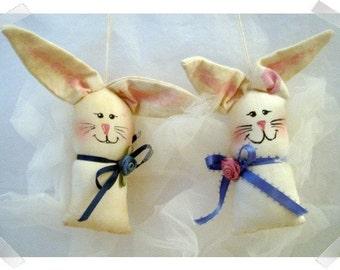 Bunny Angel Ornaments/ Set of 2/ Muslin Fabric/Handmade**