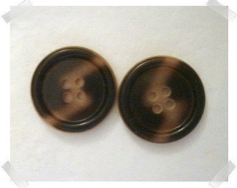 """Two-tone Plastic Buttons/ Set of 2 Large- 1  1/8"""" wide each/ Craft Supplies*"""