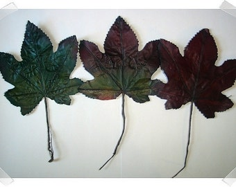 Fake Fall Leaf Stems/Set of 3/Bendable/ Craft Supplies**