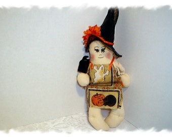 Halloween Witch Doll Ornament/Holiday Decor/ Handmade**