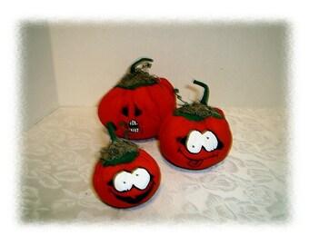 Pumpkins w/Cute Faces/Set of 3 / Holiday Decor/ Handmade*