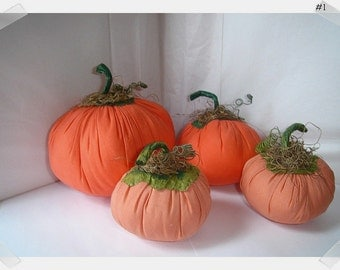 Set/4 Fabric Pumpkins/Assorted Orange Colors/Handmade**