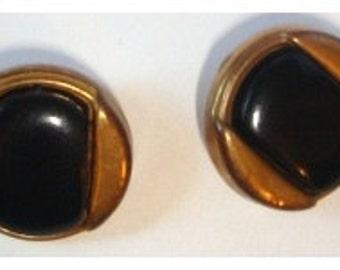 Vintage Black/Goldtone Buttons/Set of 2/ Craft Supplies/(#029)*
