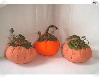 Fabric Pumpkins/Set of 3/Assorted Shades of Orange Colors/Holiday Decor/ Handmade**