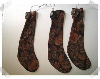 Fabric Stocking Ornament /Set of 3 OR Single / Handmade**